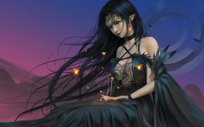 Picture girl, fantasy, dress, red eyes, brunette, artist, elf, digital art, artwork, fantasy art, black dress, …