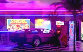 Picture Auto, Night, Machine, Style, DeLorean DMC-12, Art, Art, 80s, Style, DeLorean, DMC-12, Neon, Rendering, Illustration, …