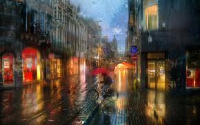 Picture the city, rain, building, rails, home, lighting, Amsterdam, cyclist, Ed Gordeev, Gordeev Edward, Eduard Gordeev, …