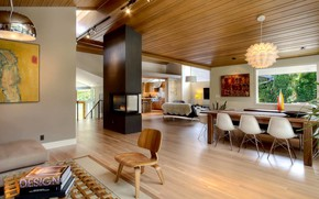 Picture interior, kitchen, living room, dining room, Madison Park house