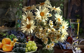Wallpaper summer, the evening, Chamomile, fruit, still life