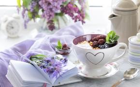 Picture berries, table, bouquet, Breakfast, Notepad, muesli