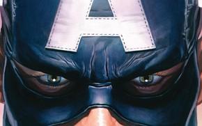 Picture fantasy, blue eyes, Marvel, comics, Captain America, artwork, mask, superhero, fantasy art, Steve Rogers, close …