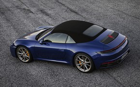 Picture blue, 911, Porsche, convertible, Cabriolet, Carrera 4S, 992, the soft top, 2019
