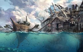 Picture Water, Sea, Figure, The city, Boat, Ship, Building, Fantasy, Art, Fiction, Concept Art, Steampunk, Steampunk, …