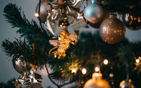 Picture winter, holiday, toys, Christmas, New year, tree, Christmas decorations, angel, новогодние декорации