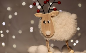 Picture winter, white, eyes, background, holiday, toy, deer, lights, Christmas, New year, wooden, fur, horns, bokeh, …
