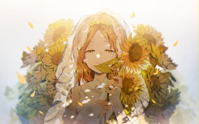 Picture girl, sunflowers, wedding dress