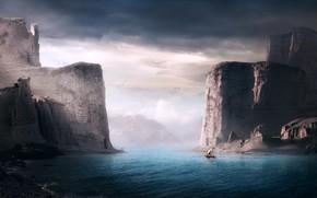 Picture rocks, shore, boat, rocks, shore, boat, Sherry Akrami