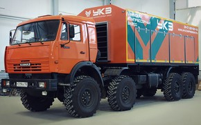 Picture cabin, wheel, KAMAZ, big car, Камаз-63501, Самоходная компрессорная станция азота, СДА-10/251, УКЗ, Уфимский компрессорный завод