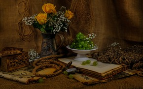 Picture flowers, network, roses, bouquet, rope, grapes, rope, box, book, vase, still life, items, burlap