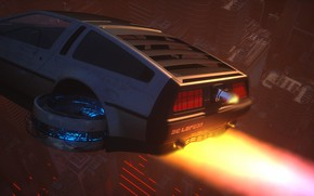 Picture Auto, Fire, Machine, Flight, Style, Flame, Fire, DeLorean DMC-12, Art, Art, 80s, Style, DeLorean, DMC-12, …