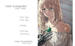 Picture text, blue eyes, shoulders, white dress, sad, brooch, iron hand, Violet Evergarden, by Akiko Takase