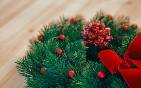 Picture branches, berries, table, holiday, Christmas, New year, bow, needles, wreath, bokeh, Christmas decorations, composition, новогодние …