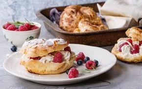 Picture berries, raspberry, cake, cream, custard