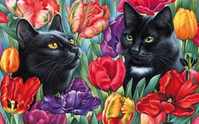 Picture flowers, picture, tulips, painting, Irina Garmashova, Cat among the tulips, black cats, two faces