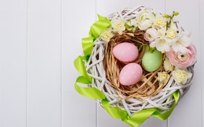 Picture flowers, holiday, Easter, basket, wood, Easter, Eggs, Buttercup