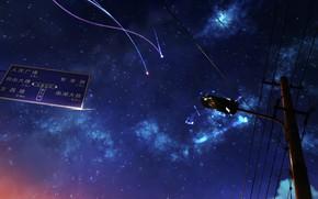 Picture line, minimalism, comet, lantern, starry sky