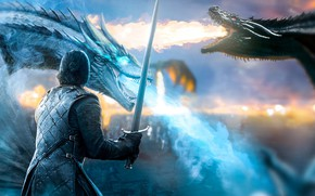 Picture dragons, sword, warrior, art, Game of Thrones, Game of thrones