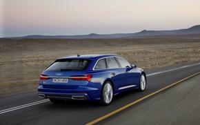 Picture blue, Audi, plain, 2018, universal, A6 Avant
