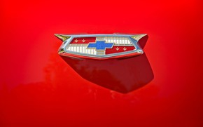 Picture Chevrolet, emblem, red background