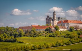 Picture trees, Germany, Church, the monastery, Germany, meadows, Baden-Württemberg, Baden-Württemberg, Neresheim, Neresheim, Neresheim Abbey, Neresheim Abbey