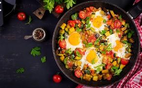 Picture greens, eggs, vegetables, tomatoes, shakshuka