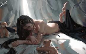 Picture girl, fantasy, art, Lion, WL OP