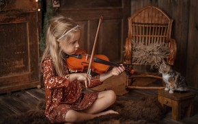 Picture music, mood, violin, baby, girl, kitty, stool, rocking chair, music, listener