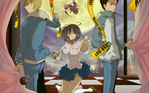 Picture katana, motorcycle, night city, the full moon, friends, students, on my knees, Durarara!!, The headless ...