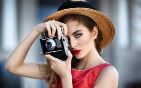 Picture girl, face, hat, makeup, the camera, photographer, brown hair, Jessica Napolitano