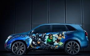 Picture side view, Kia, crossover, 2014, Sorento, Justice League