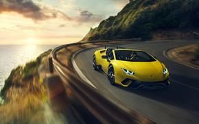 Picture sunset, speed, Lamborghini, Spyder, 2018, Performante, Huracan