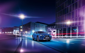 Picture road, night, the city, building, speed, Lexus, lights, 300e, UX