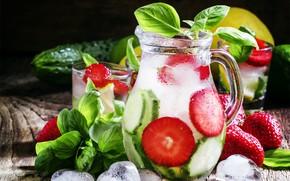 Picture ice, lemon, strawberry, pitcher, lemonade, cucumbers, Basil