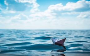 Picture ocean, water, paper boat