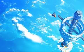 Picture fantasy, science fiction, clouds, spaceship, sci-fi, planet, digital art, artwork, fantasy art, futuristic, space station, …