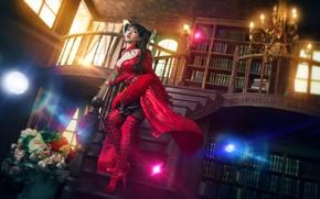 Wallpaper look, girl, light, flowers, red, lights, pose, glare, style, the dark background, castle, room, books, ...