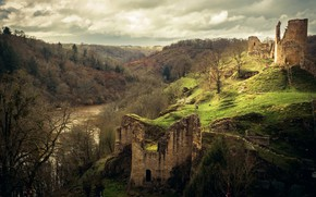 Picture autumn, forest, clouds, trees, mountains, river, castle, overcast, hills, hill, ruins, the middle ages, pond, ...