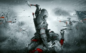 Picture weapons, rain, warriors, Assassin's Creed III