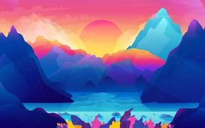 Picture The sun, Minimalism, Mountains, Rocks, Lake, Leaves, Star, Rays, Background, Abstraction, Art