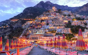 Picture beach, lights, home, the evening, umbrellas, Italy, sunbeds, Positano