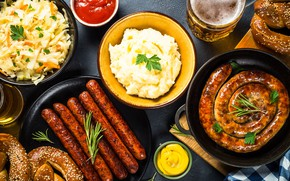 Picture food, sausage, cuts, puree, a lot