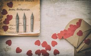 Picture pen, hearts, vintage, the envelope