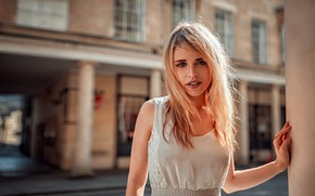 Picture portrait, look, Oliver Gibbs, blonde, home, beauty, the city, hairstyle, makeup, street, bokeh, dress, in …
