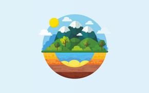 Picture water, the sun, clouds, trees, mountains, nature, figure, graphics