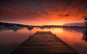 Picture sea, clouds, sunset, shore, Board, France, boats, the evening, pier, horizon, Bay, the bridge, boats, …