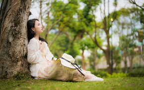 Picture girl, Asian, sitting, bokeh, the tree