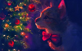 Picture cat, toys, tree, new year, by Meorow