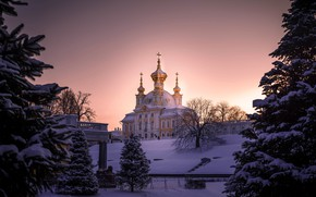 Picture winter, light, snow, trees, sunset, the city, crosses, view, the evening, Peter, ate, Saint Petersburg, …